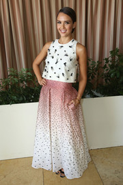 Jessica Alba looked darling in an embellished white crop-top by Lela Rose during the SELF luncheon.