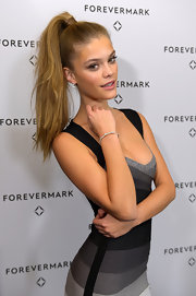 Nina Agdal rocked a high ponytail.