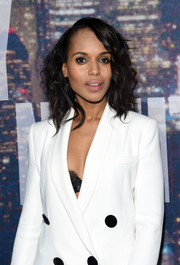 Kerry Washington went for an edgy mussed-up 'do when she attended the SNL 40th anniversary celebration.