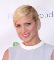 Brittany Snow pulled her hair back in a sleek ponytail for the Live Love Spa event.