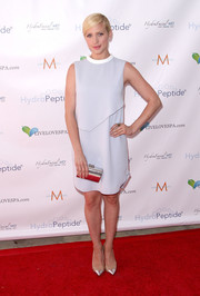 Brittany Snow was minimalist-chic in a pale blue shift dress by Camilla and Marc during the Live Love Spa event.