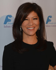 Julie Chen wore her hair down in feathered layers when she attended the Saban Community Clinic dinner gala.