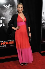 Molly Sims donned a vibrant maxi dress under her blazer for the 'Safe House' premiere.
