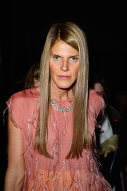 Anna dello Russo attended the Saint Laurent fashion show wearing a glossy straight 'do.