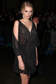 Lily Donaldson sat front row in a revealing Saint Laurent LBD.