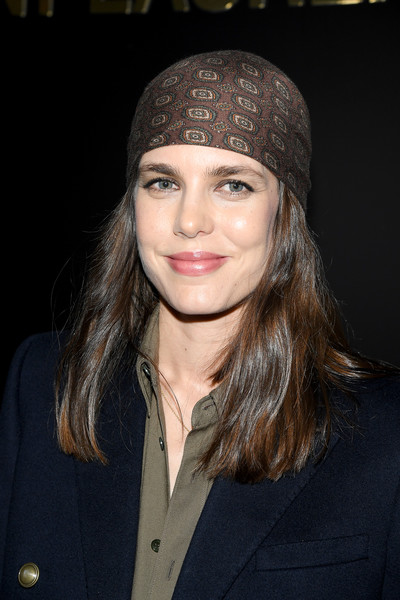 Charlotte Casiraghi sported a brown bandana at the Saint Laurent Fall 2020 show.