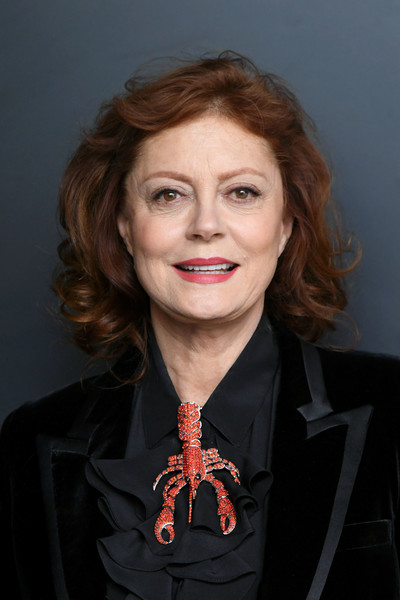 Susan Sarandon went for playful styling with a lobster brooch.