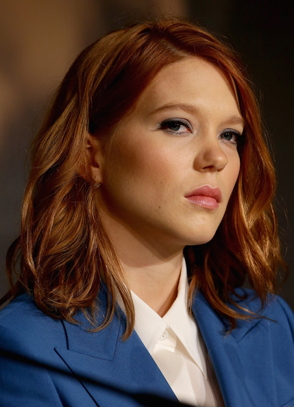 More Pics of Lea Seydoux Medium Wavy Cut (1 of 9) - Shoulder Length Hairstyles Lookbook - StyleBistro [hair,face,hairstyle,eyebrow,chin,beauty,lip,brown hair,long hair,blond,cannes,france,saint laurent press conference,cannes film festival,press conference,lea seydoux,saint laurent]