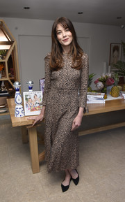 Michelle Monaghan kept it simple in an animal-print midi dress at the 'Eat Clean Play Dirty' cookbook launch.