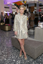 Nicky Hilton Rothschild looked effortlessly stylish in a sequin-striped mini dress at the Saks celebration.