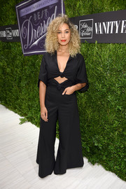 Leona Lewis rocked a majorly flared cutout jumpsuit by Rosie Assoulin at the Vanity Fair 2016 International Best Dressed List celebration.