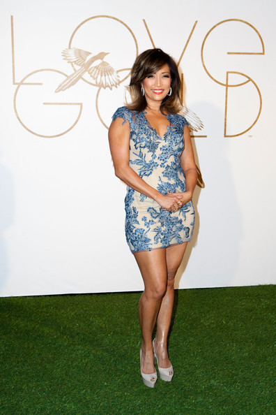Carrie Ann Inaba showed lots of skin in a super-short beaded dress during the LoveGold party honoring Lupita Nyong'o.