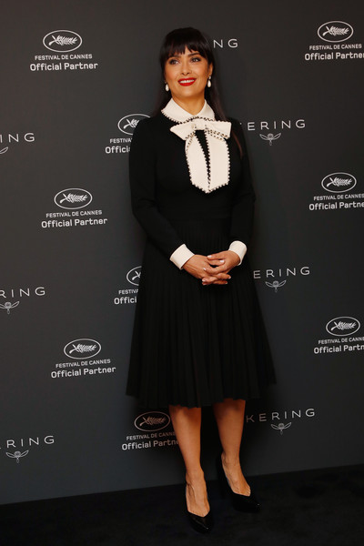 Salma Hayek Midi Dress [women in motion,salma hayek,clothing,formal wear,dress,cocktail dress,little black dress,fashion,tuxedo,suit,carpet,flooring,salma hayek - the 70th annual cannes film festival,cannes,france,majestic hotel]