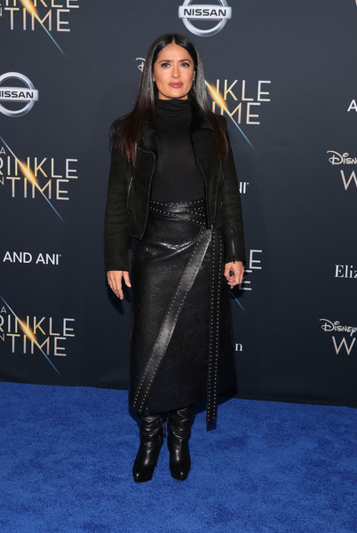 Salma Hayek Pencil Skirt [a wrinkle in time,clothing,carpet,dress,fashion,joint,red carpet,shoulder,premiere,outerwear,footwear,arrivals,salma hayek,california,los angeles,el capitan theatre,disney,premiere,premiere]
