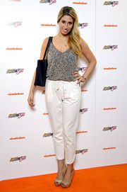 Stacey Solomon stuck to a casual look with this print camisole and drawstring pants combo at the premiere of 'Sam & Cat.'