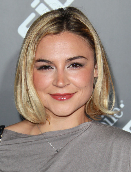 Samaire Armstrong Bob [hair,face,blond,hairstyle,eyebrow,chin,lip,shoulder,forehead,beauty,sidekick 4g,arrivals,samaire armstrong,beverly hills,california,t-mobile,launch event,launch event]