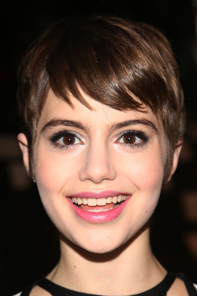 Sami Gayle Pixie [face,hair,eyebrow,lip,hairstyle,chin,facial expression,bangs,cheek,smile,herve leger,max azria,sami gayle,front row,lincoln center,new york city,the theatre,mercedes-benz fashion week,fashion show]