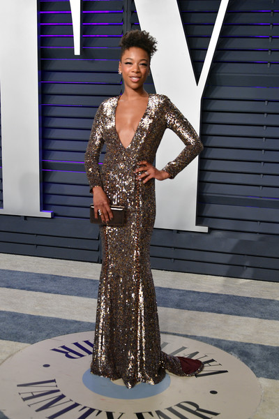 Samira Wiley Sequin Dress [oscar party,vanity fair,dress,clothing,gown,fashion,shoulder,formal wear,lady,fashion model,fashion design,haute couture,beverly hills,california,wallis annenberg center for the performing arts,radhika jones - arrivals,radhika jones,samira wiley]