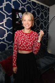 Jessica Stam flashed her flat abs in a cropped red sweater while visiting the Samsung Galaxy Blue Room.