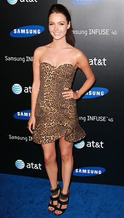 Camilla took a walk on the wild side in this strapless leopard print dress at the Samsung launch.