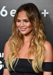 Chrissy Teigen looked radiant with her long ombre waves at the Samsung launch party.