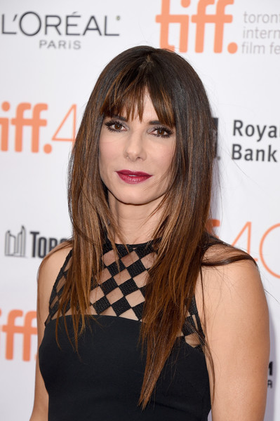 Sandra Bullock Long Straight Cut with Bangs [our brand is crisis,hair,hairstyle,fashion model,beauty,bangs,long hair,chin,layered hair,hair coloring,shoulder,sandra bullock,toronto,canada,princess of wales theatre,premiere,toronto international film festival]