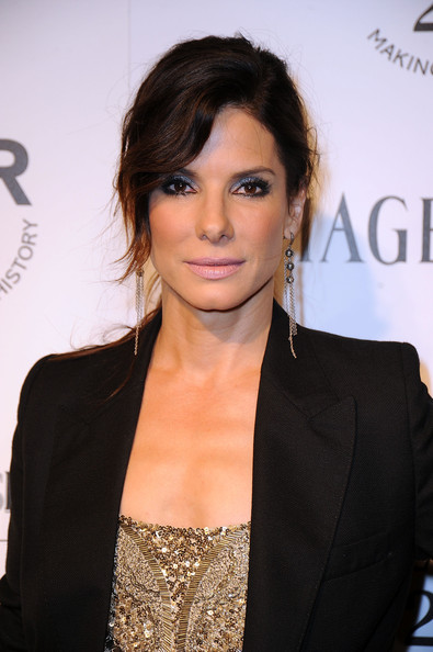 Sandra Bullock Pink Lipstick [hair,hairstyle,eyebrow,chin,lip,black hair,brown hair,long hair,suit,layered hair,sandra bullock,inspiration gala - arrivals,chateau marmont,los angeles,california,amfar,inspiration gala]