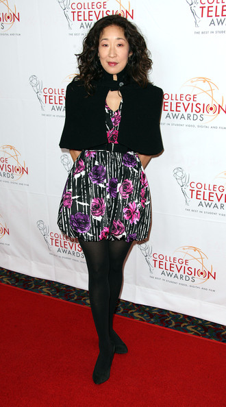 Sandra Oh Print Dress [fashion model,flooring,tights,fashion accessory,fashion,carpet,long hair,joint,red carpet,little black dress,sandra oh,renaissance hollywood hotel,hollywood,california,academy of televison arts sciences foundation,academy of television arts sciences foundation,33rd annual college television awards]