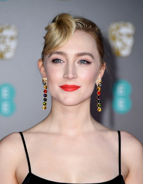 Saoirse Ronan Dangling Gemstone Earrings [hair,face,lip,hairstyle,eyebrow,beauty,skin,chin,cheek,blond,saoirse ronan,british academy film awards,ee,england,london,royal albert hall,red carpet arrivals,saoirse ronan,73rd british academy film awards,royal albert hall,red carpet,celebrity,bafta award for best makeup hair,2020,british academy of film and television arts,bafta rising star award,critics choice movie awards]