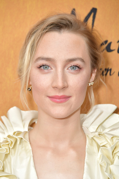 Saoirse Ronan Messy Updo [saoirse ronan,mary queen of scots,hair,face,eyebrow,skin,blond,lip,hairstyle,beauty,chin,head,new york,paris theater,premiere,premiere]