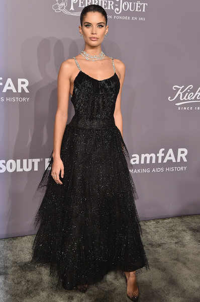 Sara Sampaio Beaded Dress [fashion model,dress,clothing,fashion,shoulder,premiere,fashion show,cocktail dress,event,little black dress,arrivals,sara sampaio,new york,cipriani wall street,amfar gala]