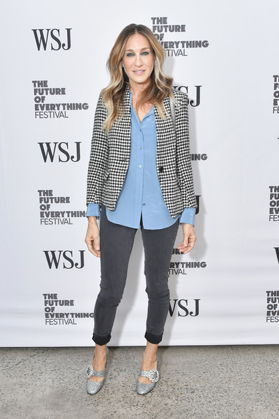 Sarah Jessica Parker Evening Pumps [wsj the future of everything festival,footwear,blazer,fashion,fashion model,jeans,flooring,outerwear,shoe,denim,suit,sarah jessica parker,the future of everything festival,new york city,spring studios]