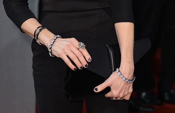 Sarah Jessica Parker Nail Art [finger,wrist,hand,little black dress,dress,fashion accessory,jewellery,bracelet,nail,leather,red carpet arrivals,sarah jessica parker,detail,ee,england,london,the royal opera house,british academy film awards]