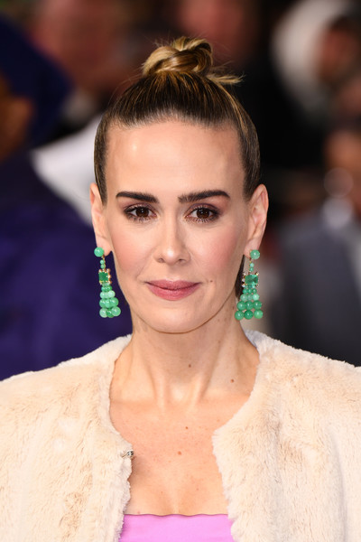 Sarah Paulson Gemstone Chandelier Earrings [hair,face,eyebrow,hairstyle,beauty,lip,fashion,chin,forehead,eyelash,glass,red carpet arrivals,sarah paulson,uk,england,london,premiere,the curzon mayfair]
