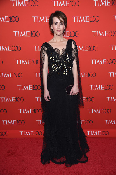 Sarah Paulson Lace Dress [red carpet,dress,flooring,carpet,gown,lady,little black dress,red carpet,fashion,fashion model,formal wear,sarah paulson,time 100,jazz,new york city,lincoln center]