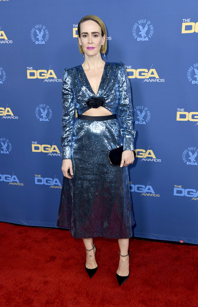 Sarah Paulson Pumps [clothing,carpet,red carpet,cobalt blue,electric blue,flooring,premiere,dress,fashion,fashion design,arrivals,sarah paulson,directors guild of america awards,hollywood highland center,the ray dolby ballroom,california]
