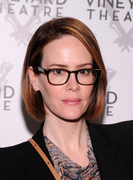 Sarah Paulson Bob [too much sun,eyewear,hair,glasses,face,hairstyle,eyebrow,chin,vision care,lip,brown hair,opening night - arrivals,sarah paulson,curtain call,new york city,vineyard theatre,off broadway,production]