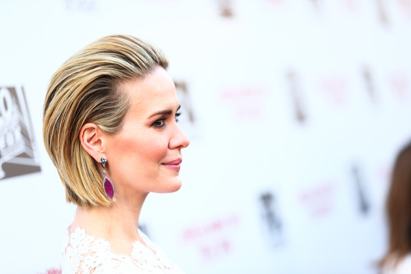 Sarah Paulson Bob [american horror story: freakshow,for your consideration,hair,face,hairstyle,skin,eyebrow,chin,beauty,bun,blond,long hair,sarah paulson,screening,q a,california,los angeles,fyc special screening and q a for fx,paramount studios]