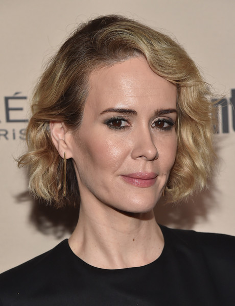 Sarah Paulson Short Wavy Cut [red carpet,hair,face,hairstyle,eyebrow,blond,chin,lip,beauty,head,shoulder,sarah paulson,west hollywood,california,fig olive melrose place,party,entertainment weekly,entertainment weekly pre-emmy party]