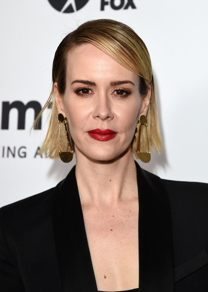 Sarah Paulson Side Parted Straight Cut Short Hairstyles