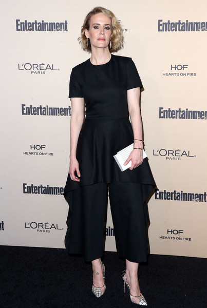 Sarah Paulson Jumpsuit [clothing,dress,shoulder,fashion,footwear,cocktail dress,waist,little black dress,premiere,joint,arrivals,sarah paulson,west hollywood,california,fig olive melrose place,entertainment weekly,entertainment weekly pre-emmy party]