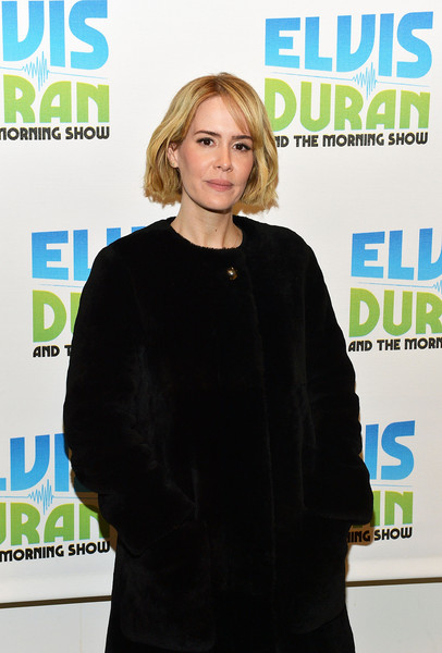 More Pics of Sarah Paulson Bob (1 of 25) - Short Hairstyles Lookbook - StyleBistro [the elvis duran z100 morning show,magazine,premiere,publication,outerwear,carpet,media,electric blue,smile,fashion design,sarah paulson,new york city,z100 studio]
