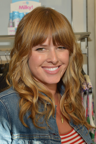 Sarah Wright Long Wavy Cut with Bangs [hair,blond,hairstyle,hair coloring,brown hair,layered hair,long hair,bangs,eyebrow,chin,tamera launch milky,tia,sarah wright,beverly hills,california,a pea in the pod,launch event]