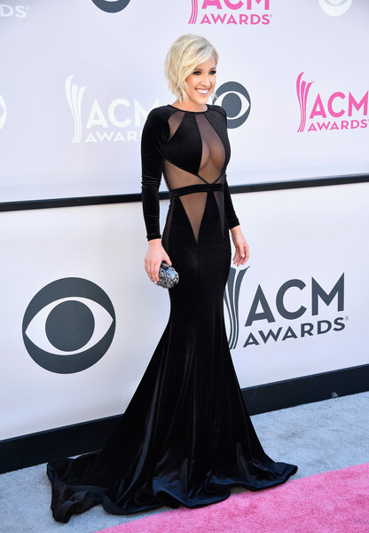 Savannah Chrisley Metallic Clutch [red carpet,clothing,dress,carpet,shoulder,hairstyle,gown,fashion,flooring,joint,arrivals,savannah chrisley,tv personality,nevada,las vegas,toshiba plaza,academy of country music awards]