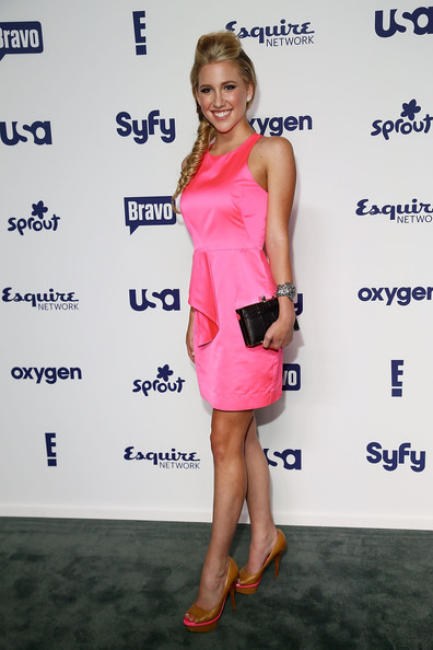 Savannah Chrisley Peep Toe Pumps [entertainment upfronts,nbcuniversal cable,nbcuniversal cable entertainment upfronts,cocktail dress,clothing,dress,shoulder,hairstyle,fashion,joint,premiere,footwear,fashion model,new york city,the jacob k. javits convention center,savannah chrisley]