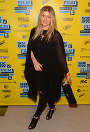 Fergie opted for an all black, flowing dress for her rocking maternity look at SXSW 2013.