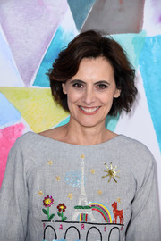Ines de la Fressange sported a textured bob at the Schiaparelli Couture Fall 2016 show.