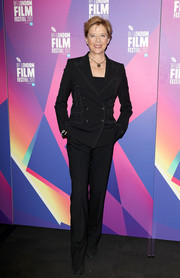 Annette Bening looked impeccable in this black pantsuit at the BFI London Film Festival.
