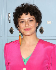 Alia Shawkat wore her hair in tousled curls at the screening of 'Eighth Grade.'