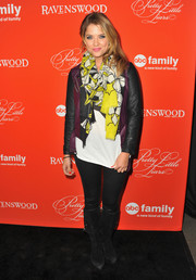 Ashley Benson was casual and colorful in a two-tone leather jacket, spruced up with a floral scarf, during the 'Pretty Little Liars' screening.